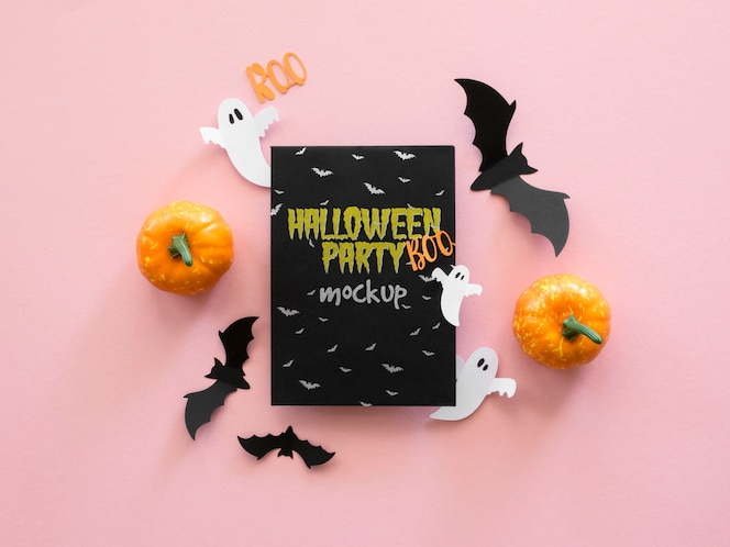Maquette d'halloween vue de dessus avec des chauves-souris en papier