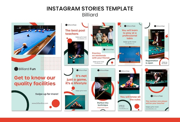 Maquette d'histoires instagram de concept de billard