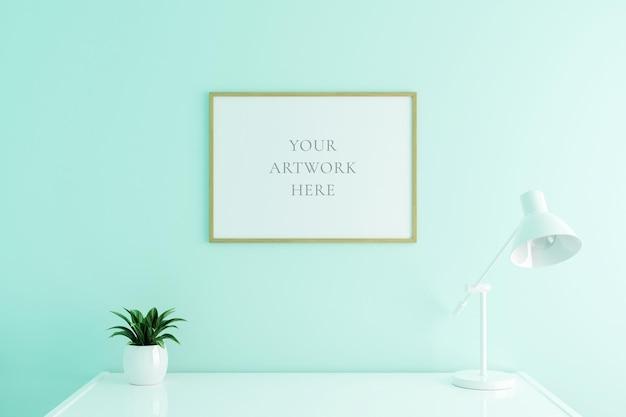 Maquette horizontale de cadre d'affiche en bois sur la table de travail à l'intérieur du salon sur fond de mur de couleur blanche vide. rendu 3d.