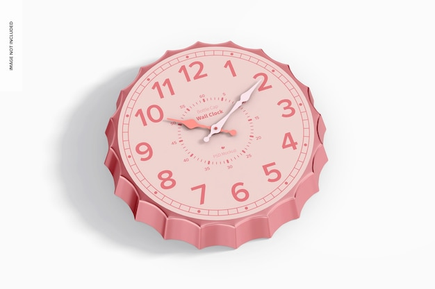 Maquette d'horloge murale de bouchon de bouteille, perspective