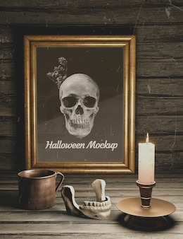 Maquette d'horreur noire halloween sombre éléments de vue de dessus