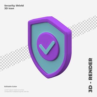 Maquette d'icône de bouclier de sécurité 3d isolé