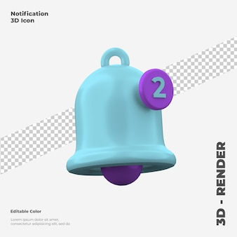 Maquette d'icône de notification 3d isolée