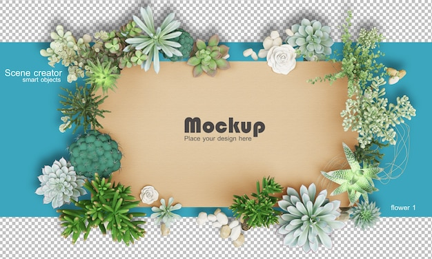 Maquette d'illustration de cadre de fleurs assorties