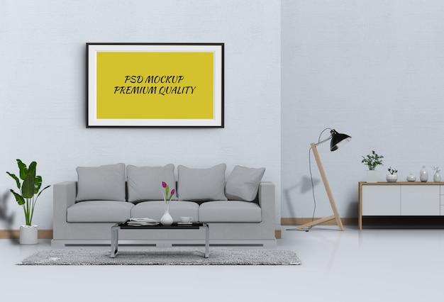Maquette image dans le salon intérieur et un canapé, rendu 3d