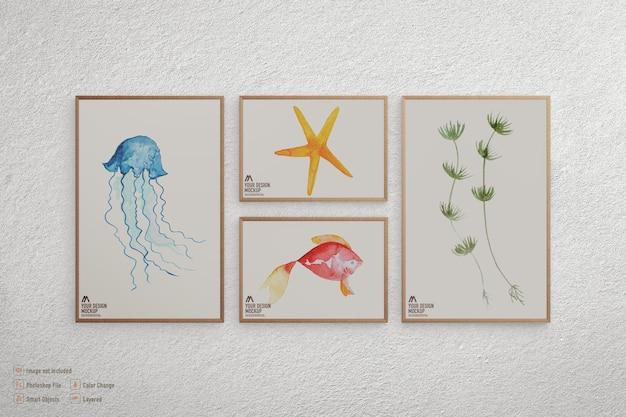 Maquette d'images de cadre isolé sur mur