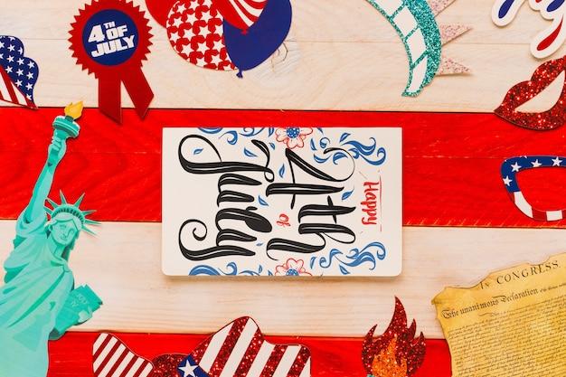 Maquette de l'indépendance des états-unis avec couverture