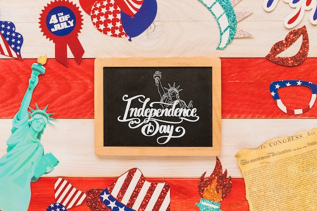 Maquette de l'indépendance de l'usa avec ardoise