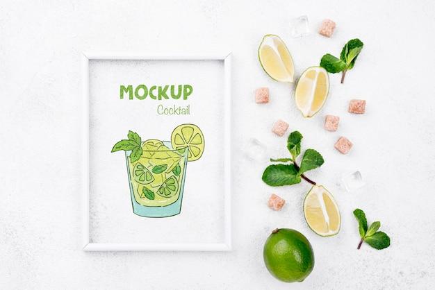 Maquette d'ingrédients de cocktail vue de dessus
