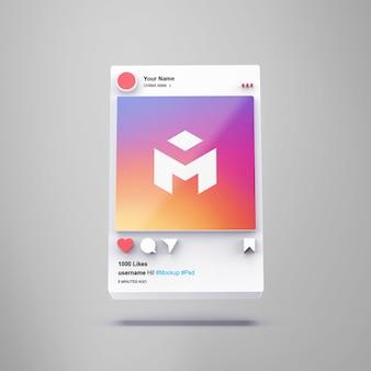 Maquette instagram de médias sociaux d'interface 3d