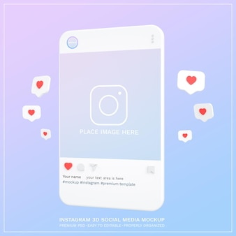 Maquette instagram sur les médias sociaux post 3d