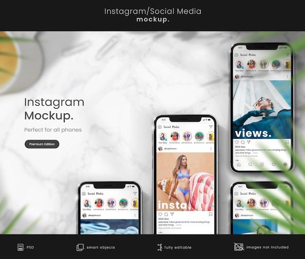 Maquette instagram premium sur l'écran du téléphone