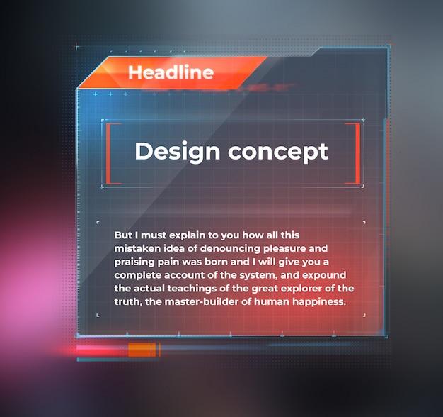 Maquette d'interface utilisateur, tableau de bord pour le texte.