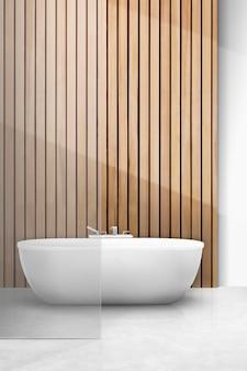 Maquette d'intérieur de salle de bain japandi psd