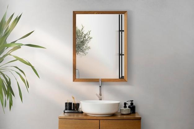 Maquette d'intérieur de salle de bain minimale psd design japandi