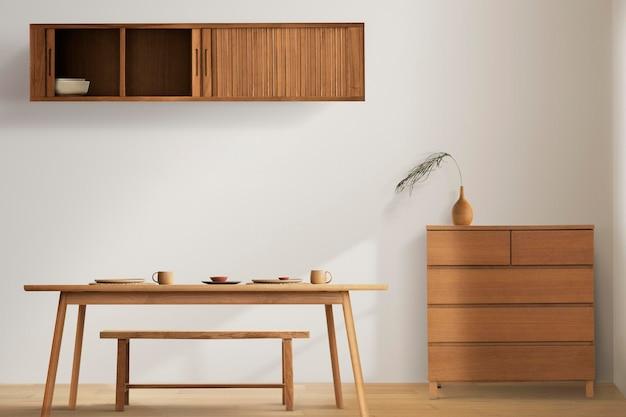 Maquette d'intérieur de salle à manger japandi avec des meubles en bois