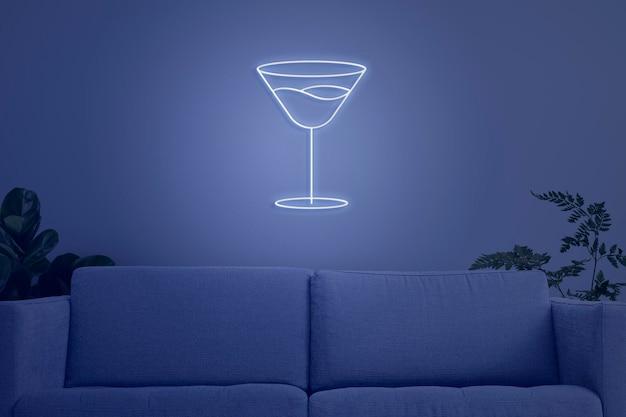 Maquette d'intérieur de salon psd design bleu néon contemporain