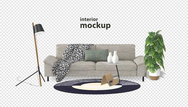 Maquette intérieure de canapé en rendu 3d