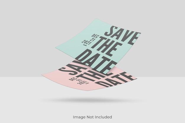 Maquette d'invitation carrée flottante avec superposition d'ombre