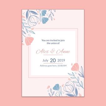 Maquette d'invitation de mariage moderne
