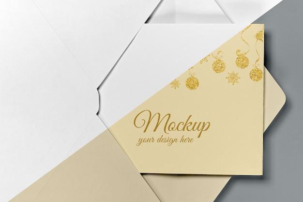 Maquette d'invitation de nouvel an avec ruban