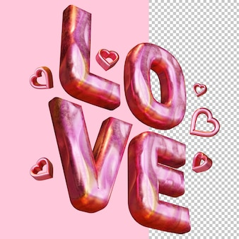 Maquette isolée de lettre audacieuse de rendu 3d de l'amour