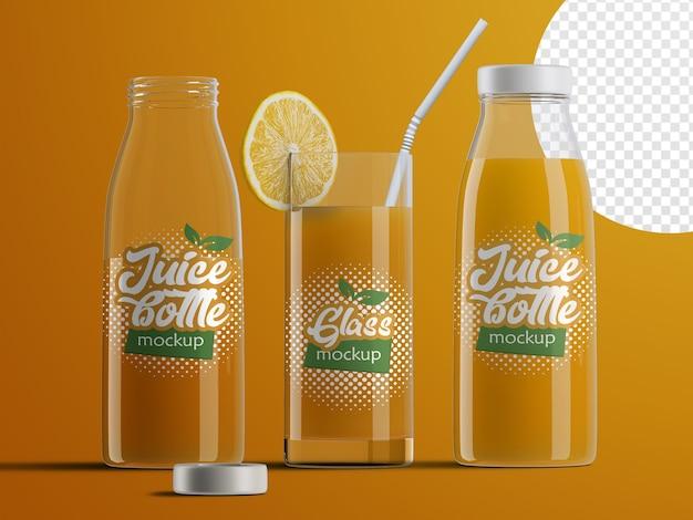 Maquette isolée réaliste d'emballage de bouteille de jus de fruits en plastique