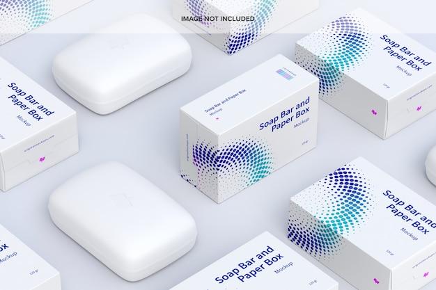 Maquette de jeu de barres de savon et de boîtes en papier