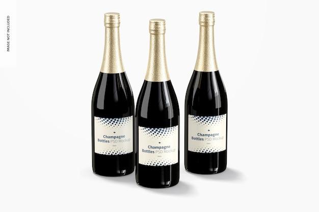 Maquette de jeu de bouteilles de champagne