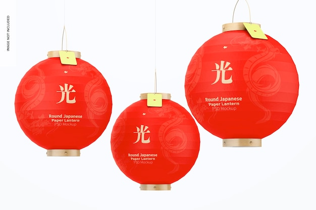 Maquette de jeu de lanternes rondes en papier japonais