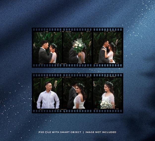 Maquette de jeu de photos de bande de film romantique avec des particules de paillettes