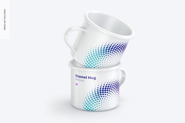 Maquette de jeu de tasses en émail, vue de face