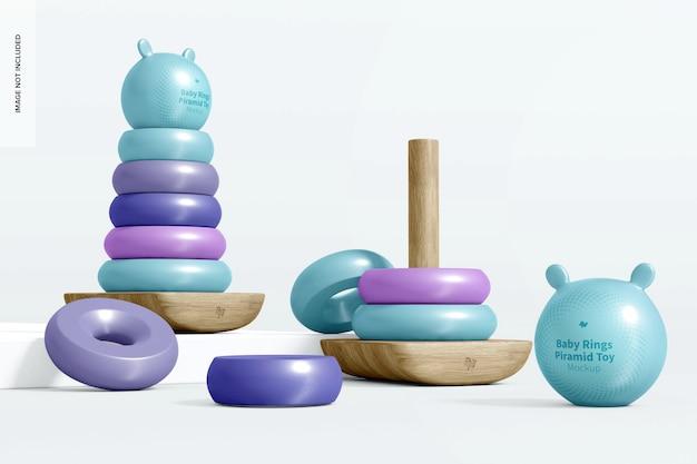 Maquette de jouet de pyramide d'anneau de bébé, vue de droite