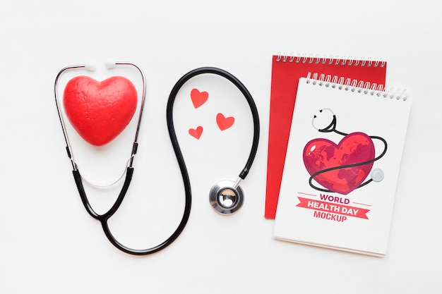 Maquette de jour de la santé à plat et coeurs