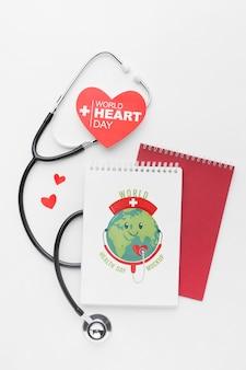 Maquette de la journée de la santé vue de dessus avec stéthoscope