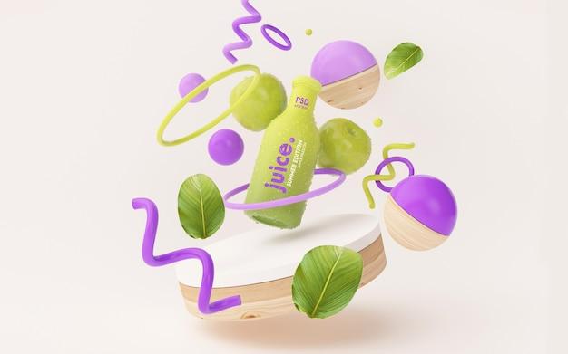 Maquette de jus de fruits frais dans une scène d'été