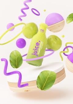 Maquette de jus de pomme avec des objets abstraits