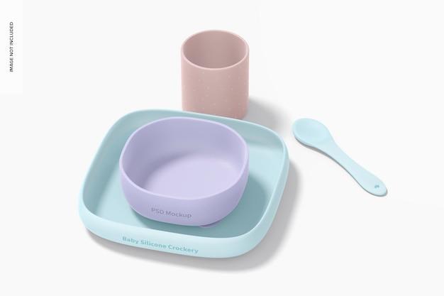 Maquette de kit de vaisselle en silicone pour bébé, vue de dessus