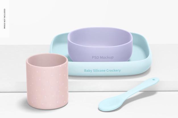 Maquette de kit de vaisselle en silicone pour bébé, vue de face