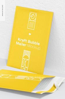 Maquette kraft bubble mailers, vue en perspective