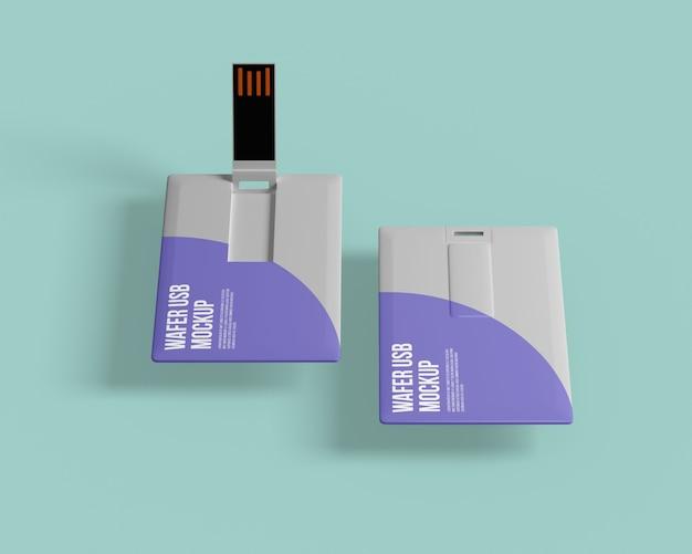 Maquette de lecteur flash usb de carte de visite
