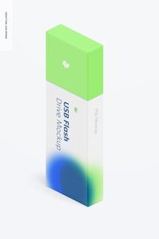 Maquette de lecteur flash usb en plastique, vue isométrique
