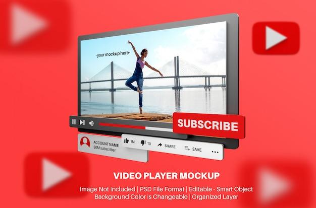 Maquette de lecteur vidéo youtube dans un style 3d