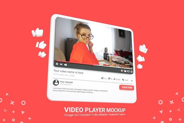 Maquette de lecteur vidéo youtube de médias sociaux 3d