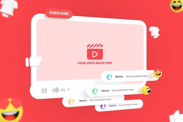 Maquette de lecteur vidéo youtube de médias sociaux avec emojis