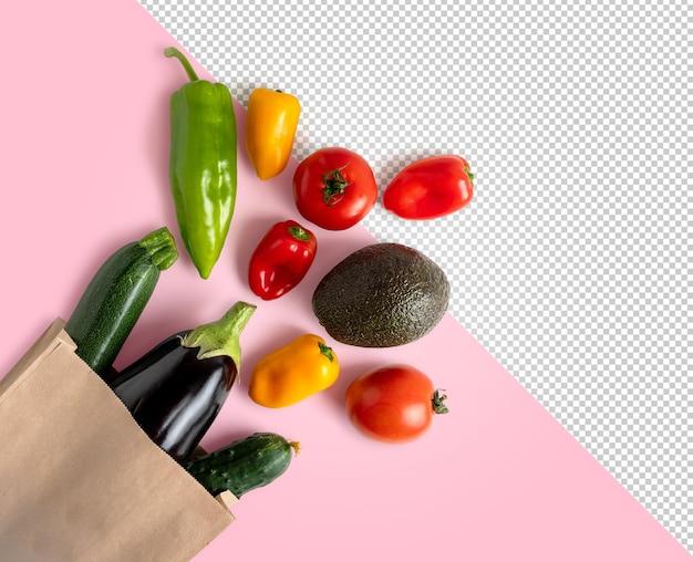 Maquette de légumes frais dans un sac recyclable