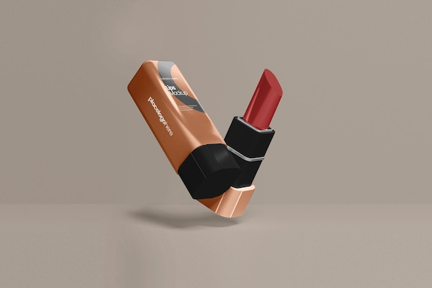 Maquette de lèvres de luxe fermée et ouverte