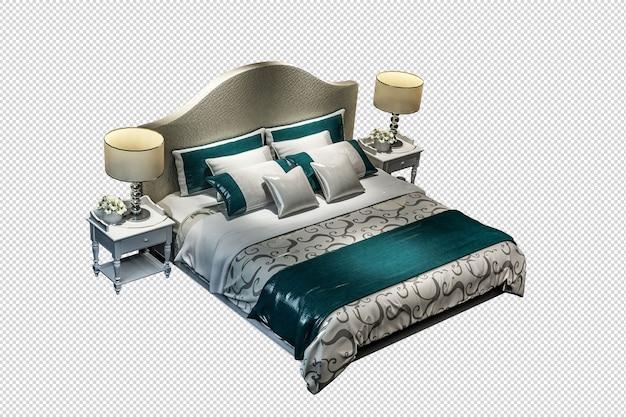 Maquette de lit en rendu 3d isolé