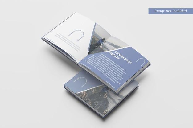 Maquette de livre à couverture carrée vue de droite