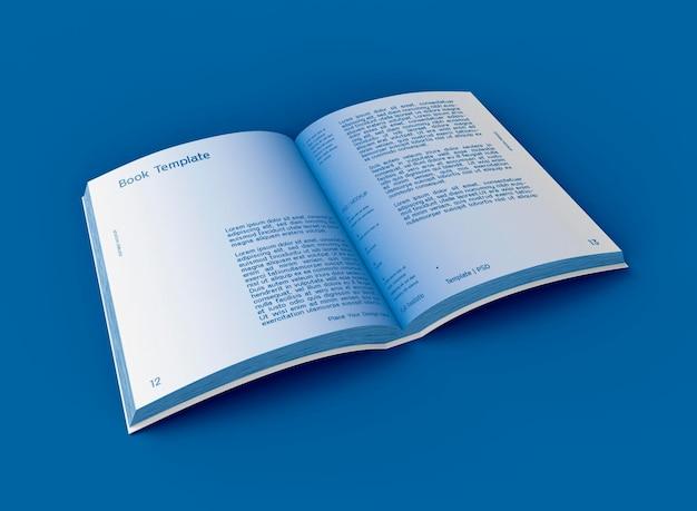 Maquette de livre à couverture rigide ouverte en 3d